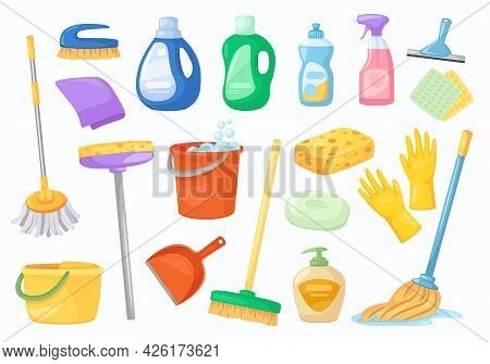 Cleaning Tools. Napkin, Bucket, Broom, Gloves, Mop, Detergent Or Disinfectant Bottles. Household Cle
