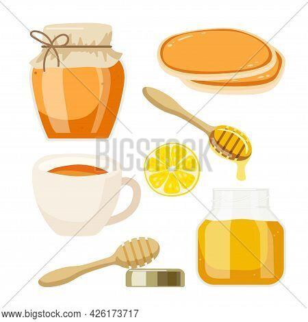 Tea Party With Honey. Two Varieties Of Honey In Jars, Cup Of Tea, Pancakes, Lemon For Farmer Market