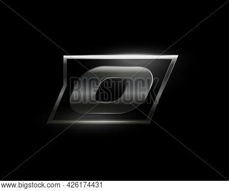 Carbon Speed Letter O Logo, Dark Matte Metal Carbon Texture. Drive Dynamic Steel Letter, Turbo Bold