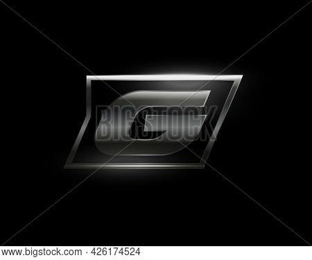 Carbon Speed Letter G Logo, Dark Matte Metal Carbon Texture. Drive Dynamic Steel Letter, Turbo Bold