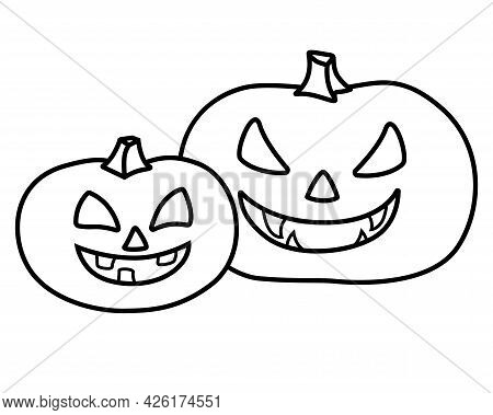 Pumpkins For Halloween - Vector Linear Picture For Coloring. Two Pumpkins With Carved Faces For Hall