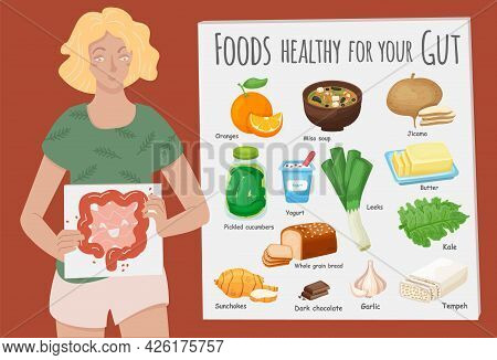 Top Foods For Gut Health. Healthy Products Collection.