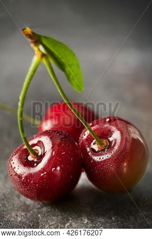 Fresh Sweet Cherry Berries With Water Drops Closeup. Cherry Macrophotography.