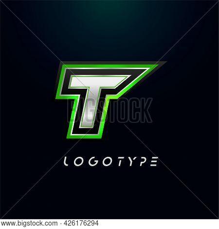 Letter T For Video Game Logo And Super Hero Monogram. Sport Gaming Emblem, Bold Futuristic Letter Wi