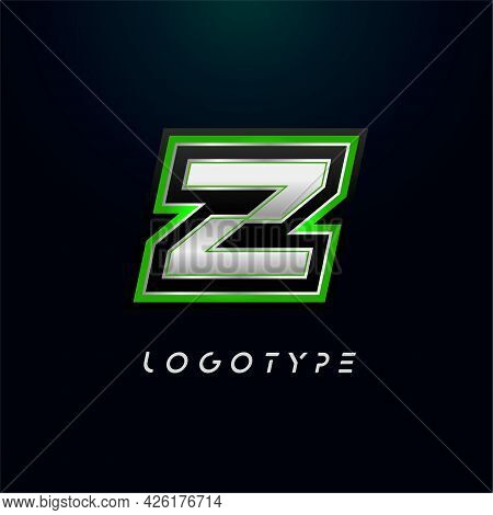 Letter Z For Video Game Logo And Super Hero Monogram. Sport Gaming Emblem, Bold Futuristic Letter Wi