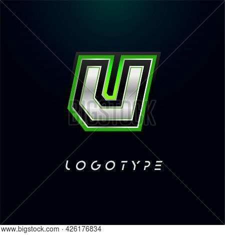 Letter U For Video Game Logo And Super Hero Monogram. Sport Gaming Emblem, Bold Futuristic Letter Wi