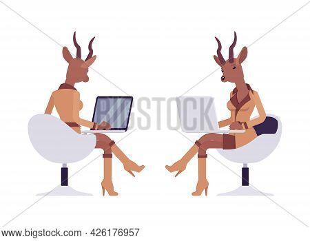 Roe Deer Woman With Laptop, Elegant Gazelle Lady, Animal Head Stylish Human. Deerlike Businesswoman,