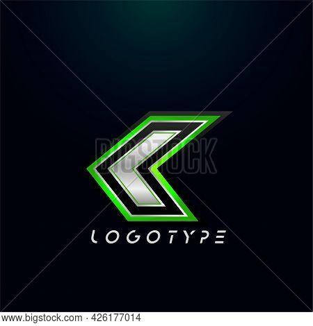 Letter K For Video Game Logo And Super Hero Monogram. Sport Gaming Emblem, Bold Futuristic Letter Wi