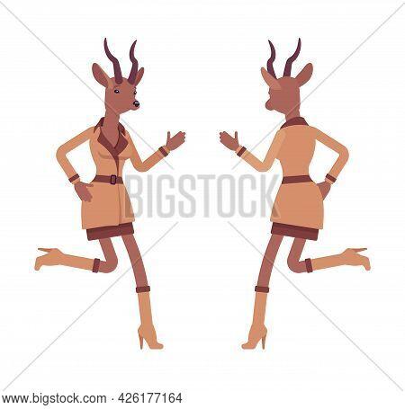 Roe Deer Woman, Elegant Gazelle Lady, Animal Head Stylish Human Running. Attractive Deerlike Busines