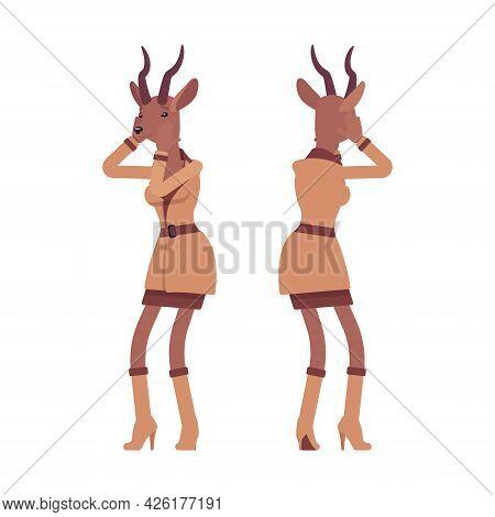 Roe Deer Woman In Despair, Elegant Gazelle Lady, Animal Head Stylish Human. Deerlike Businesswoman,