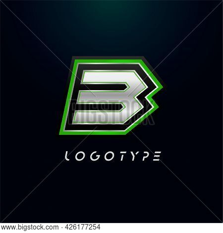 Letter B For Video Game Logo And Super Hero Monogram. Sport Gaming Emblem, Bold Futuristic Letter Wi