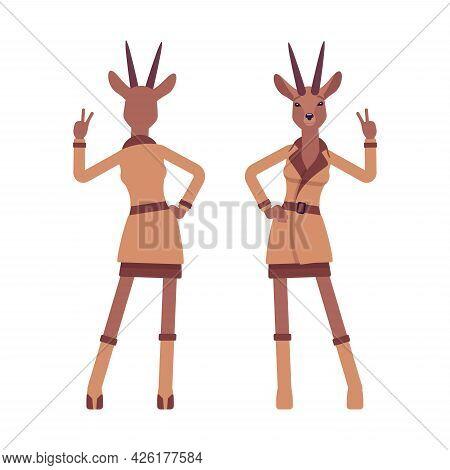 Roe Deer Woman Showing V Gesture, Elegant Gazelle Lady, Animal Head Stylish Human. Deerlike Business