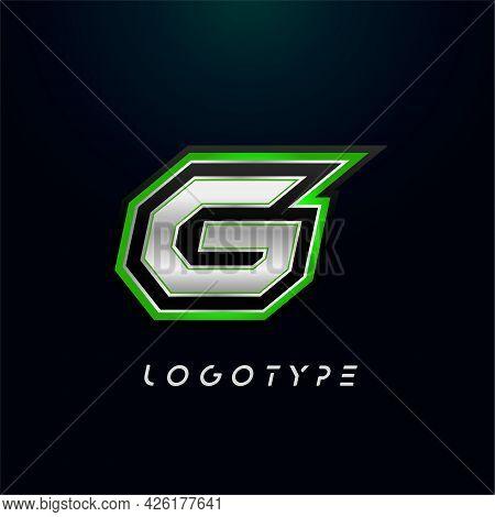 Letter G For Video Game Logo And Super Hero Monogram. Sport Gaming Emblem, Bold Futuristic Letter Wi
