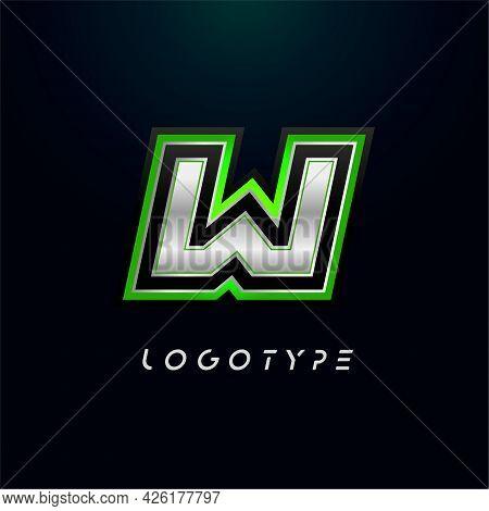 Letter W For Video Game Logo And Super Hero Monogram. Sport Gaming Emblem, Bold Futuristic Letter Wi