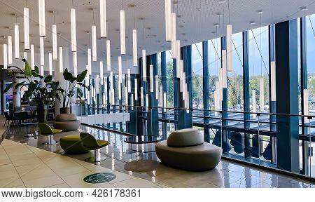 Latvia, Riga, July, 2021 - Modern Interior In Alfa Shopping Mall On Brivibas Street At Riga, Latvia.