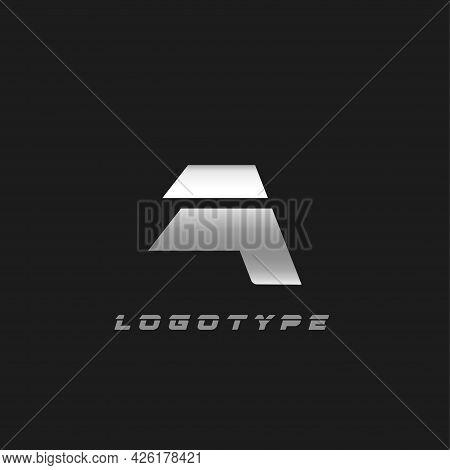 Blade Silver Letter A, Bold Italic Cropped Monogram. Aluminium Iron Metallic Vector Emblem For Auto