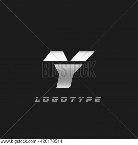 Blade Silver Letter Y, Bold Italic Cropped Monogram. Aluminium Iron Metallic Vector Emblem For Auto