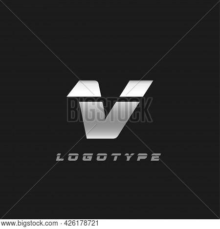Blade Silver Letter V, Bold Italic Cropped Monogram. Aluminium Iron Metallic Vector Emblem For Auto