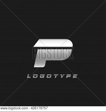 Blade Silver Letter P, Bold Italic Cropped Monogram. Aluminium Iron Metallic Vector Emblem For Auto