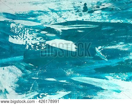 Abstract Art Background Turquoise And White Colors. Watercolor Painting On Canvas With Cerulean Grad