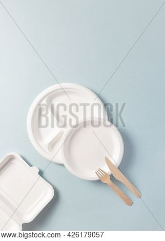 Compostable Or Biodegradable Dinnerware Flat Lay Composition, Vertical. Paper Plate, Food Containers