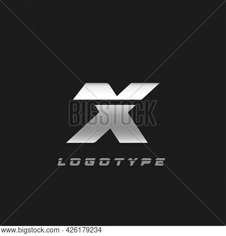 Blade Silver Letter X, Bold Italic Cropped Monogram. Aluminium Iron Metallic Vector Emblem For Auto