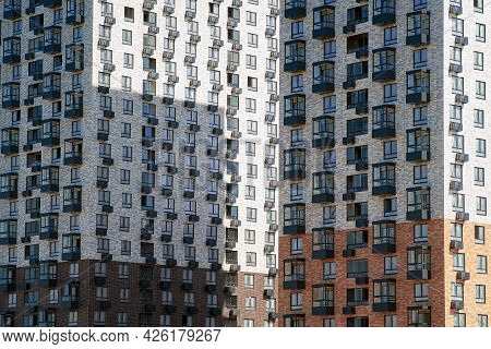 Facades With Balconies. A Quarter Of Modern Residential Buildings In Europe. Abstract Architecture,