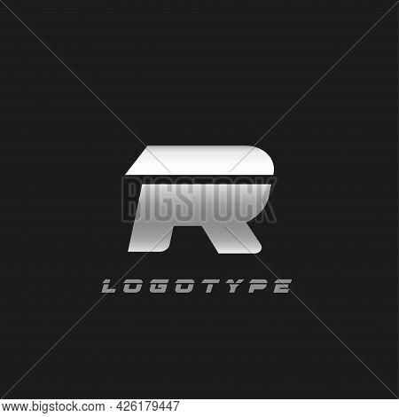 Blade Silver Letter R, Bold Italic Cropped Monogram. Aluminium Iron Metallic Vector Emblem For Auto