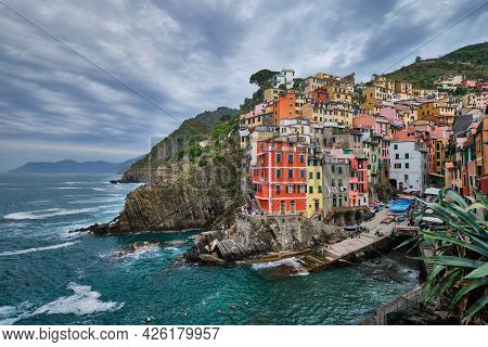 Riomaggiore village popular tourist destination in Cinque Terre National Park a UNESCO World Heritage Site, Liguria, Italy in stormy weather