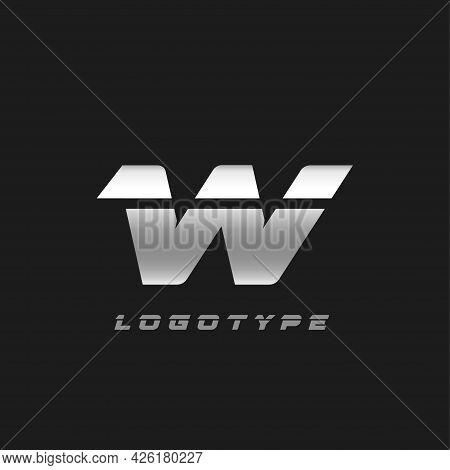 Blade Silver Letter W, Bold Italic Cropped Monogram. Aluminium Iron Metallic Vector Emblem For Auto