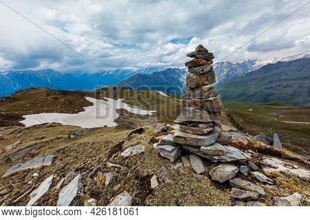 Stone cairn in Himalayas. Near Manali, above Kullu Valley, Himachal Pradesh, India