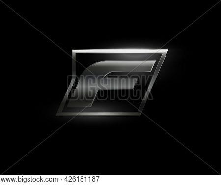Carbon Speed Letter F, Dark Matte Metal Carbon Texture. Drive Dynamic Steel Letter, Turbo Bold Itali