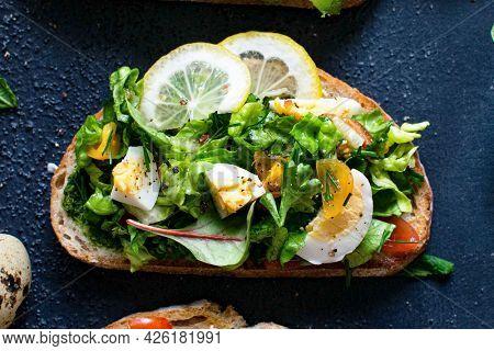 Fresh homemade open faced sandwiches recipe idea