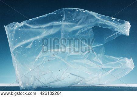 Single-use plastic bag polluting the ocean