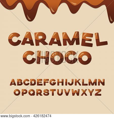 Caramel Chocolate Latin Alphabet. Glossy English Letters Decorated With Melted Chocolate And Caramel