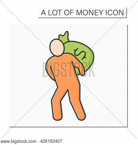 Money Color Icon. Man Holds Big Bag With Money On Back. Bank Robbery. Jackpot. Wealth Concept. Isola
