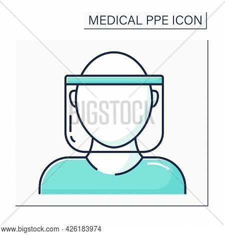 Face Shield Color Icon. Face Protection. Personal Protective Equipment. Barrier Between Person And G