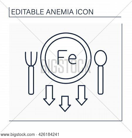 Anemia Line Icon. Lack Of Iron In Diet. Absence Irons In Meal Routine. Health Protection Concept. Is