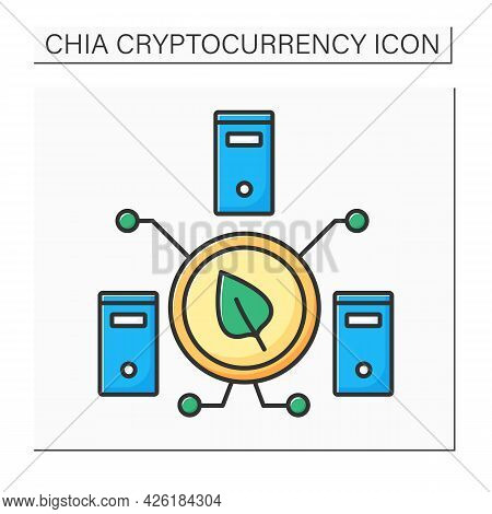 Chia Harvester Color Icon. Harvesting Plots. Getting Proof Of Space And Time. Digital Money Concept.