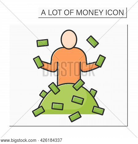 Money Color Icon. Person Has A Lot Of Money. Rich Man. Wealth Concept. Isolated Vector Illustration