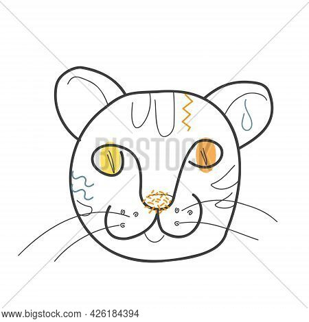 The Muzzle Of A Cat With Colored Spots In The Doodle Style. Vector Illustration For Coloring Book, P