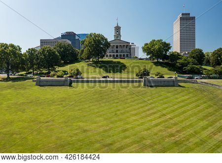 Aerial Drone View Of The Tennessee State Capitol Building In Nashville With The Business District