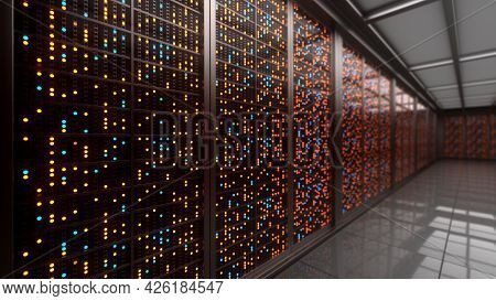 Server Racks In Computer Network Security Server Room Data Center. 3D Rendering
