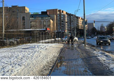 Balashikha, Russia - March 19, 2021. Residential Neighborhood On The Spring Sunny Day. Snow Melting