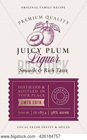 Family Recipe Plum Liquor Acohol Label. Abstract Vector Packaging Design Layout. Modern Typography B