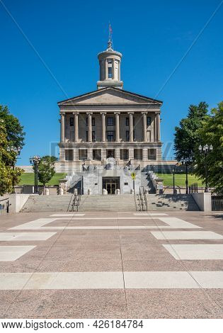 Steps Leading Up To The Tennessee State Capitol Building In Nashville