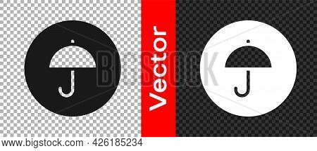 Black Delivery Package With Umbrella Symbol Icon Isolated On Transparent Background. Parcel Cardboar