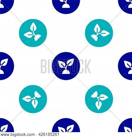 Blue Plant Based Icon Isolated Seamless Pattern On White Background. Vector
