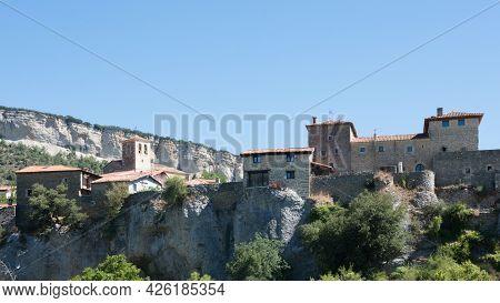 View From Below Of The Beautiful Village Of Puentedey, Merindades, Burgos, Spain, Europe