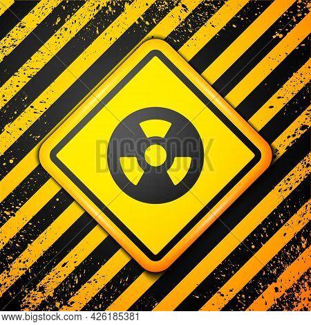 Black Radioactive Icon Isolated On Yellow Background. Radioactive Toxic Symbol. Radiation Hazard Sig